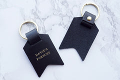 Peronalised keyrings from Bookshell Bindery can be personalised with any message up to 22 characters long, David's porsche