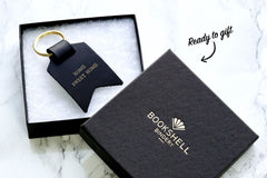 Peronalised keyrings from Bookshell Bindery ready to gift in beautiful packaging