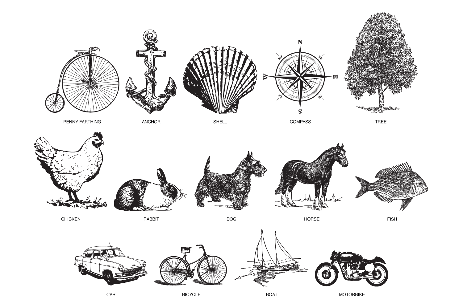 Personalised leather phone case cover illustrations, penny farthing, anchor, shell, compass, tree, chicken, rabbit, dog, horse, fish, car, bicycle, boat, motorbike