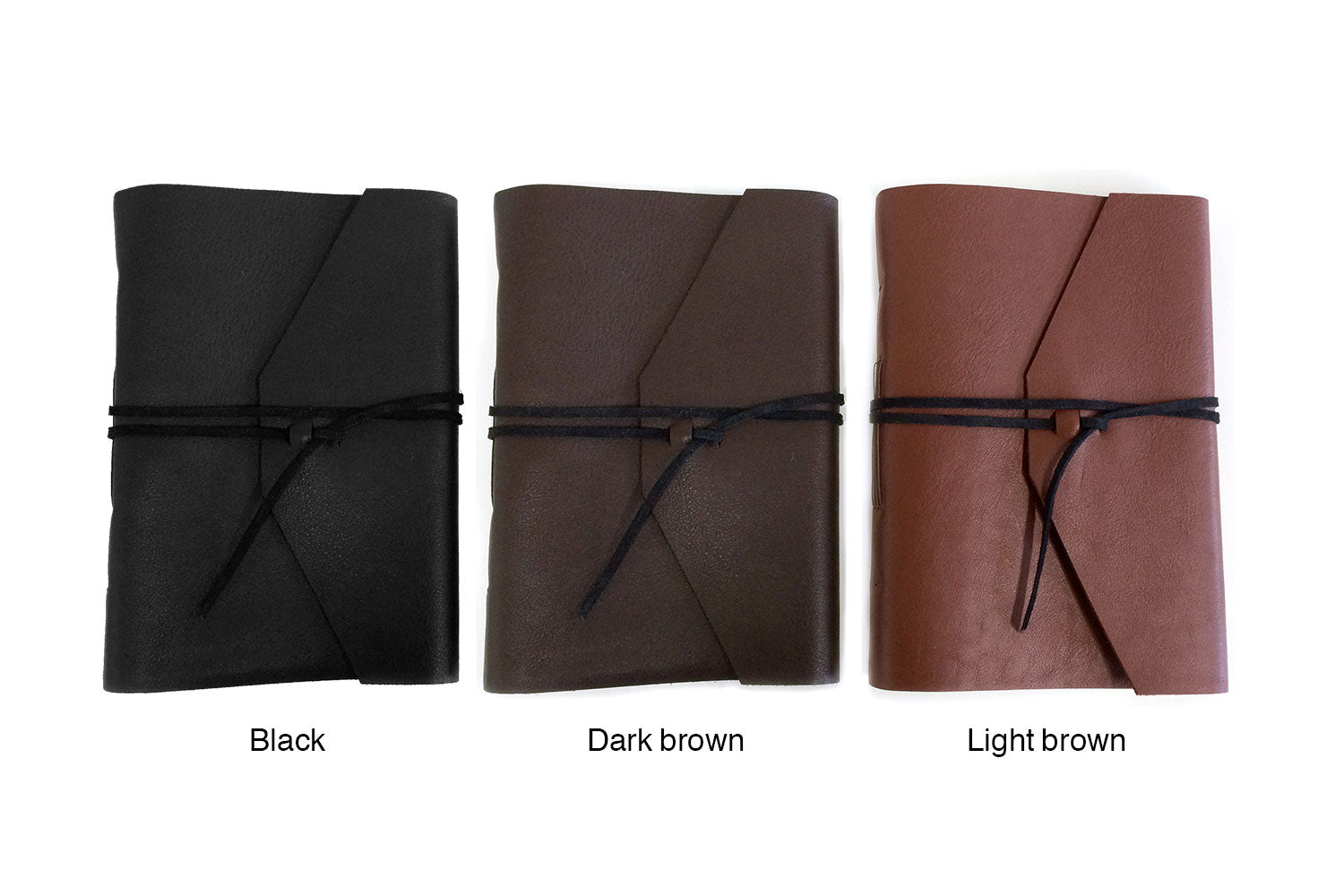 Personalized leather journal in black leather, dark brown leather, or light brown leather, from Bookshell bindery