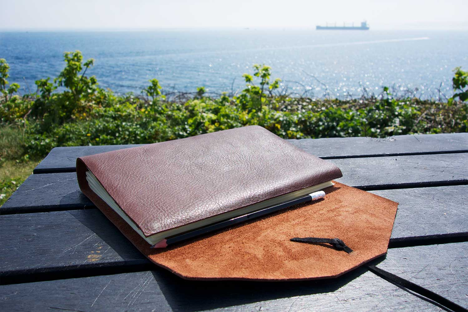 Personalized leather journal from Bookshell bindery