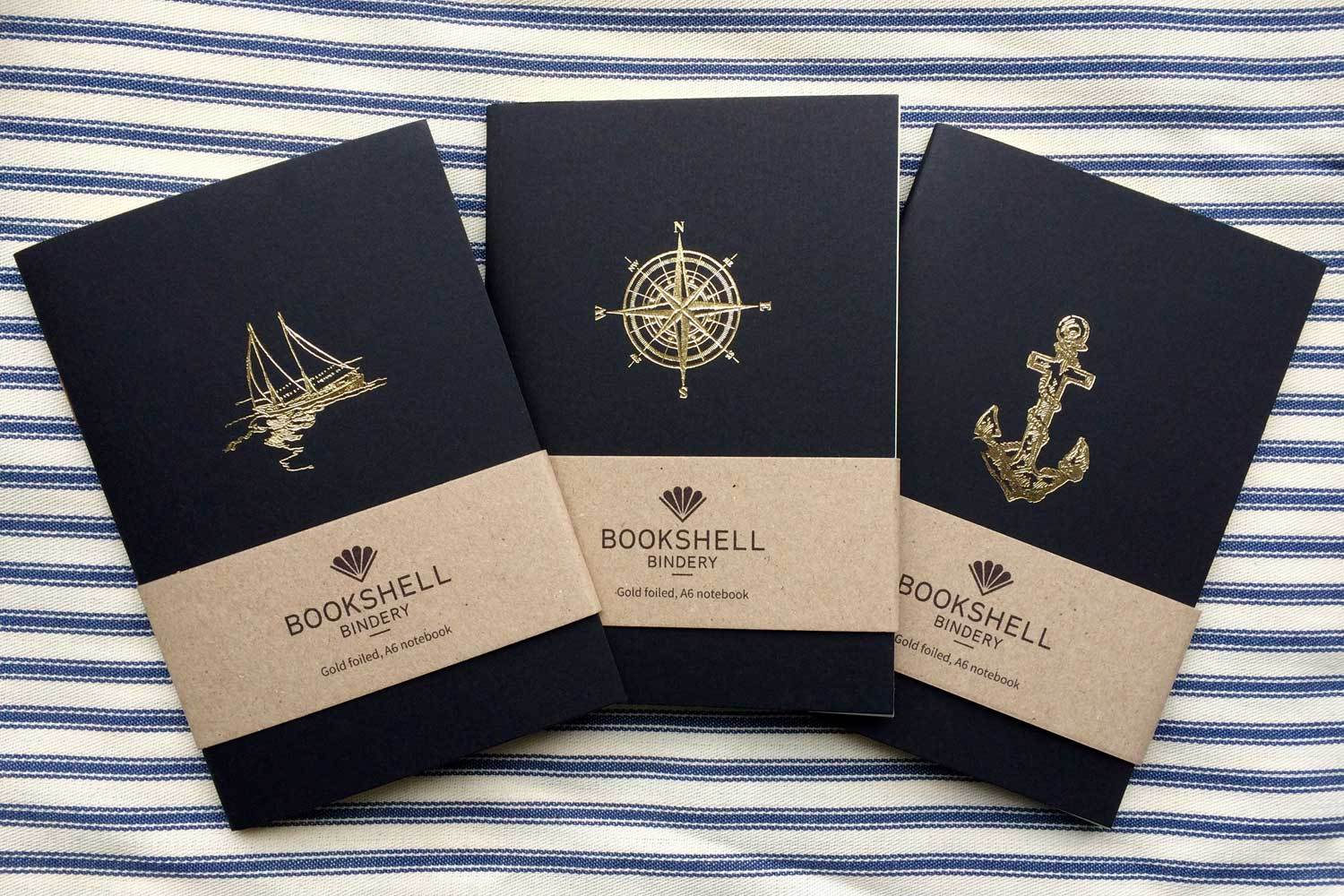 Pocket notebook with choice of gold foil picture from Bookshell, boat, compass or anchor