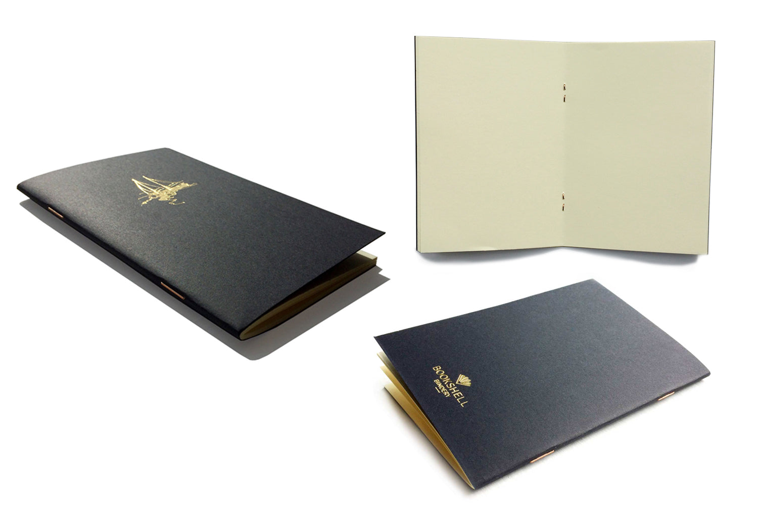 Pocket notebook with choice of gold foil picture from Bookshell, boat