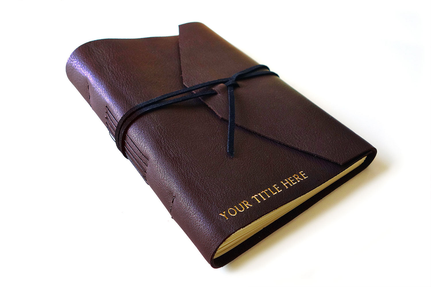 rustic leather guest book with Your text here - Personalised rustic leather guest book in dark brown leather from Bookshell