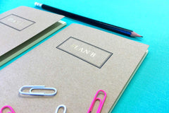 Small pocket notebook set from Bookshell Bindery, Plan B on kraft card cover