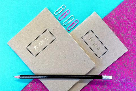 Gold foiled small pocket notebook set from Bookshell Bindery, Plan A and Plan B foiled in gold on kraft card cover