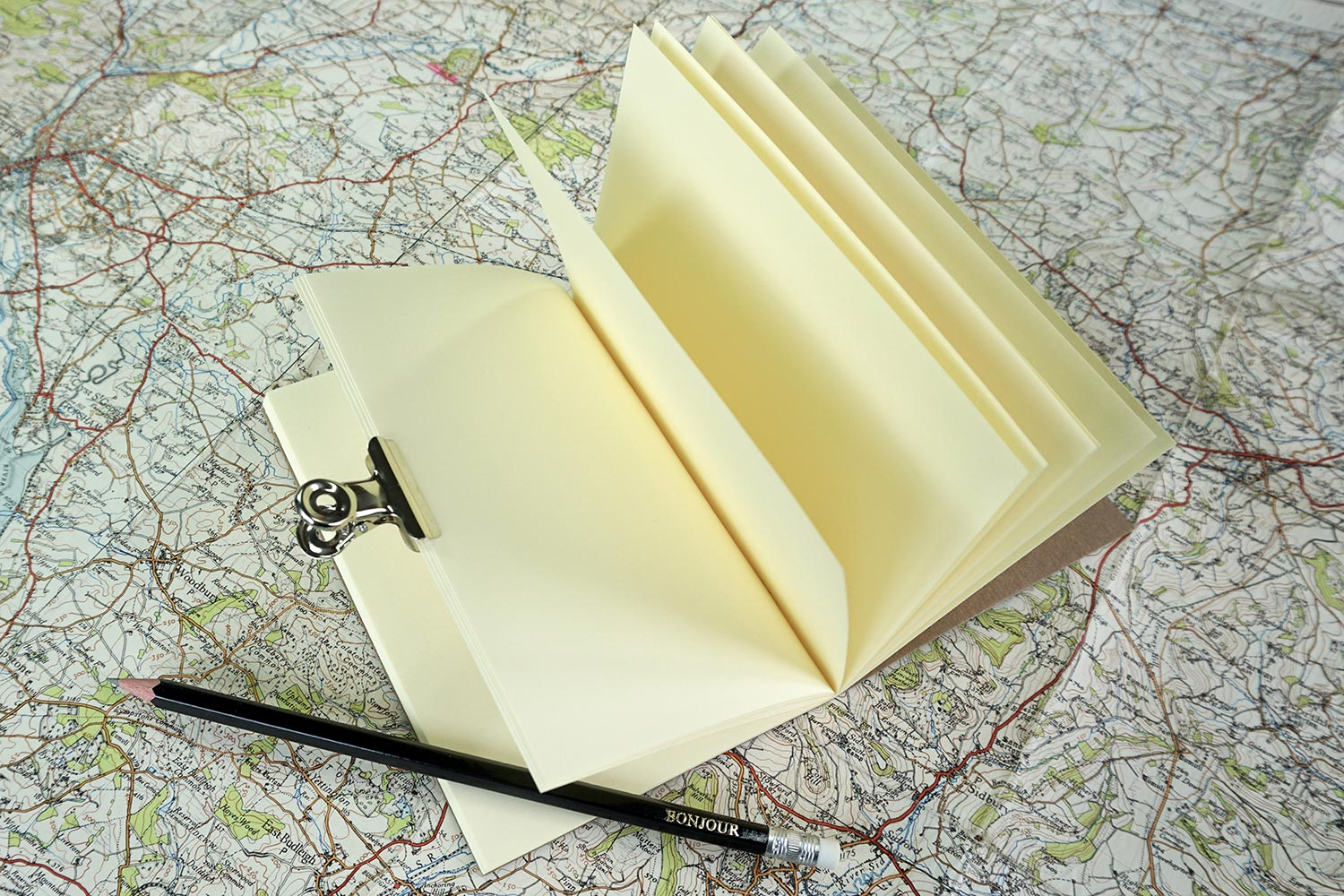Travel notebook from Bookshell, with cream coloured blank pages