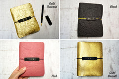 Vegan Leather Journal available in 4 colours – Black, Pink, Gold Smooth or Gold textured