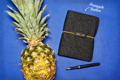 Vegan Leather Journal made from Pinatex Pineapple leather from Bookshell Bindery, a great eco friendly gift