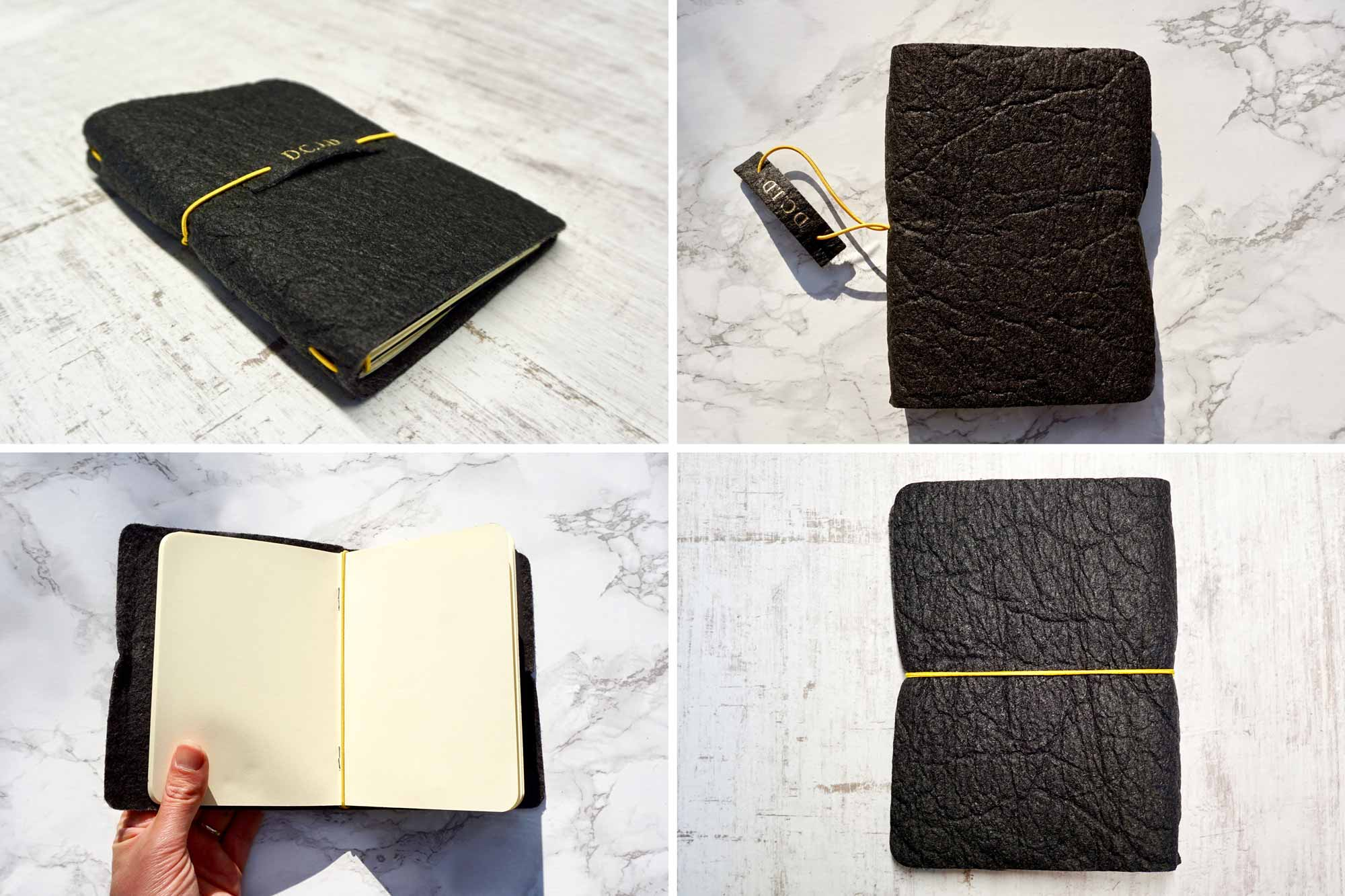 Black Vegan Leather Journal made from Pinatex Pineapple leather from Bookshell Bindery, a great sustainable gift with blank pages