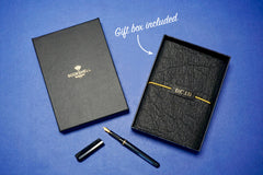Black personalised Vegan Leather Journal with gift box made from Pinatex Pineapple leather from Bookshell Bindery complete and ready to gift with a beautiful gift box