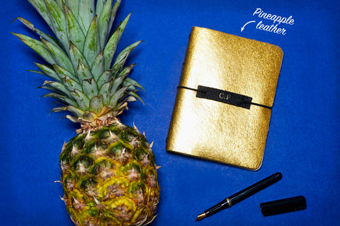 Gold Smooth Vegan Leather Journal made from Pinatex Pineapple leather from Bookshell Bindery, a great eco friendly gift