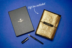 Gold textured personalised Vegan Leather Journal with gift box made from Pinatex Pineapple leather from Bookshell Bindery complete and ready to gift with a beautiful gift box