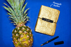 Gold textured Vegan Leather Journal made from Pinatex Pineapple leather from Bookshell Bindery, a great eco friendly gift