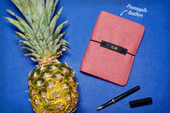 Pink Vegan Leather Journal made from Pinatex Pineapple leather from Bookshell Bindery, a great eco friendly gift