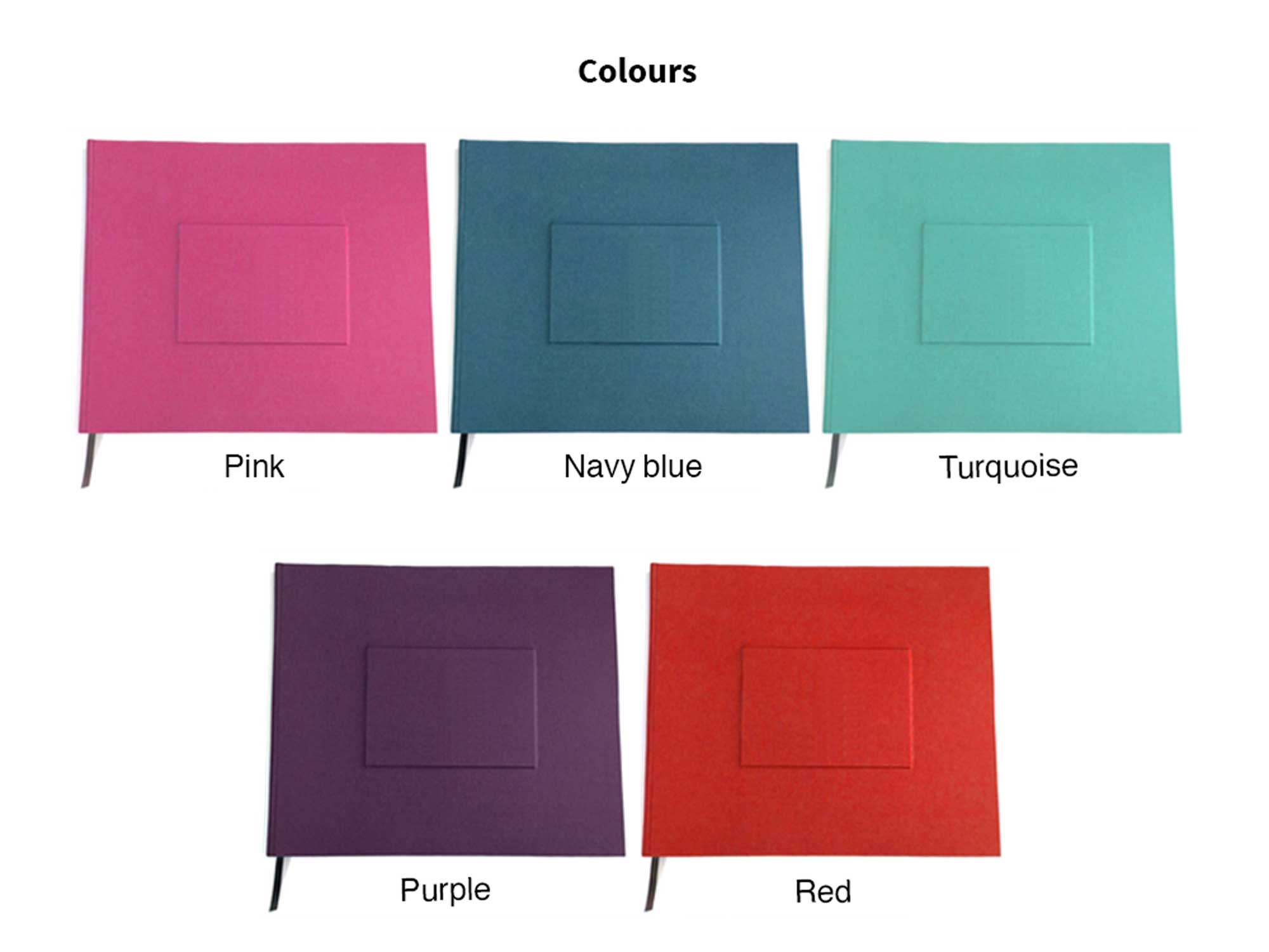wedding guest book from Bookshell bindery available in pink, navy blue, turquoise, purple, red book cloth