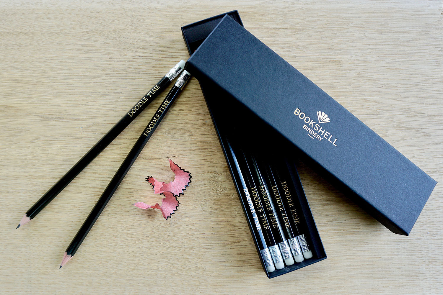 Custom pencils from Bookshell ready to gift in beautiful packaging, 'doodle time'