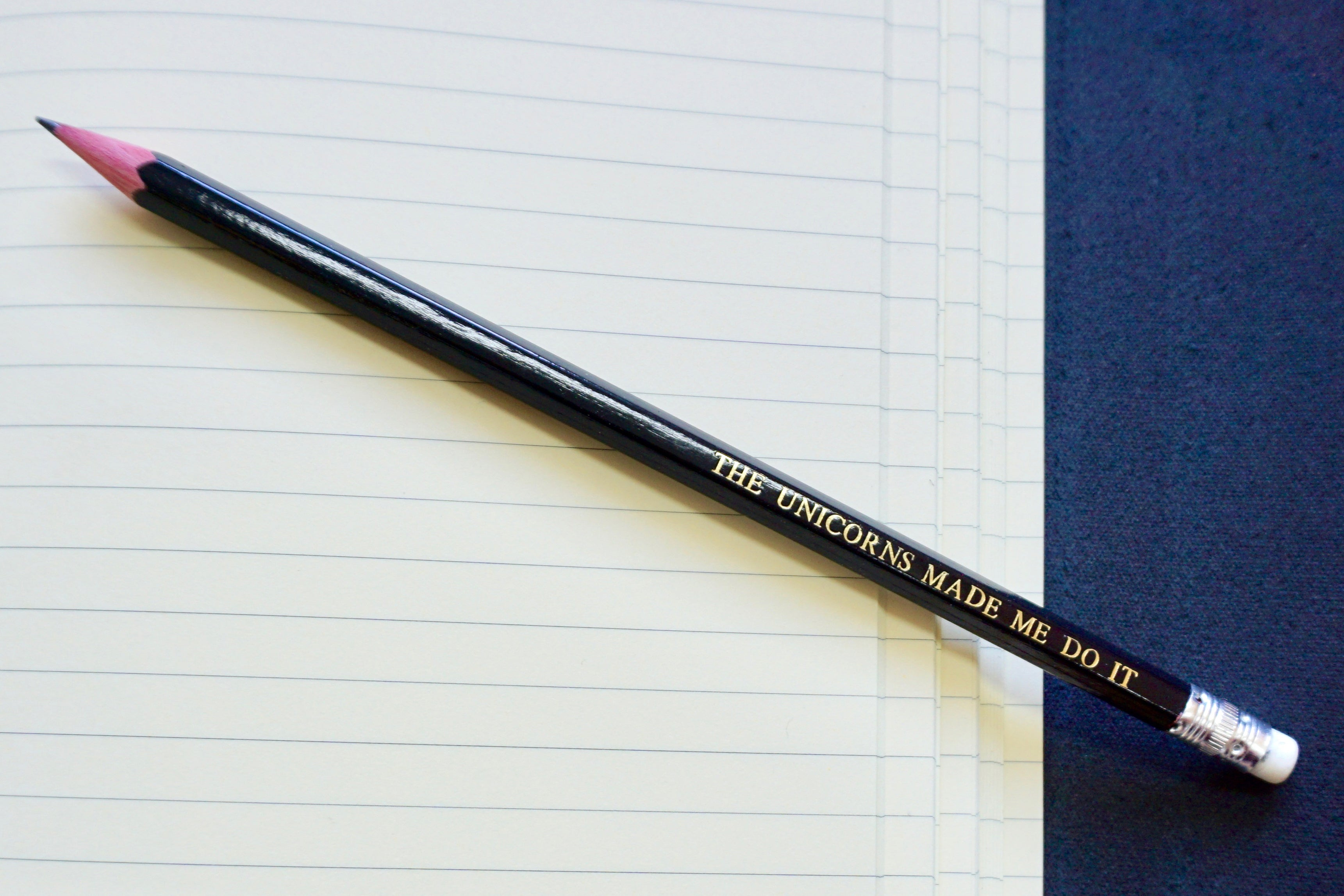 Custom pencils from Bookshell, 'The unicorns made me do it'
