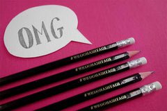 Custom pencils from Bookshell,'We do hashtags'