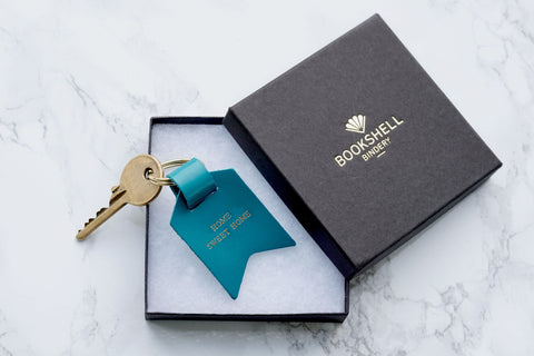 Shown in gift box, Second Sale – Home Sweet Home, blue Leather Keyring