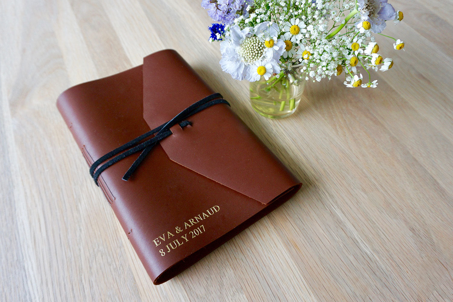 rustic wedding guest book in light brown leather