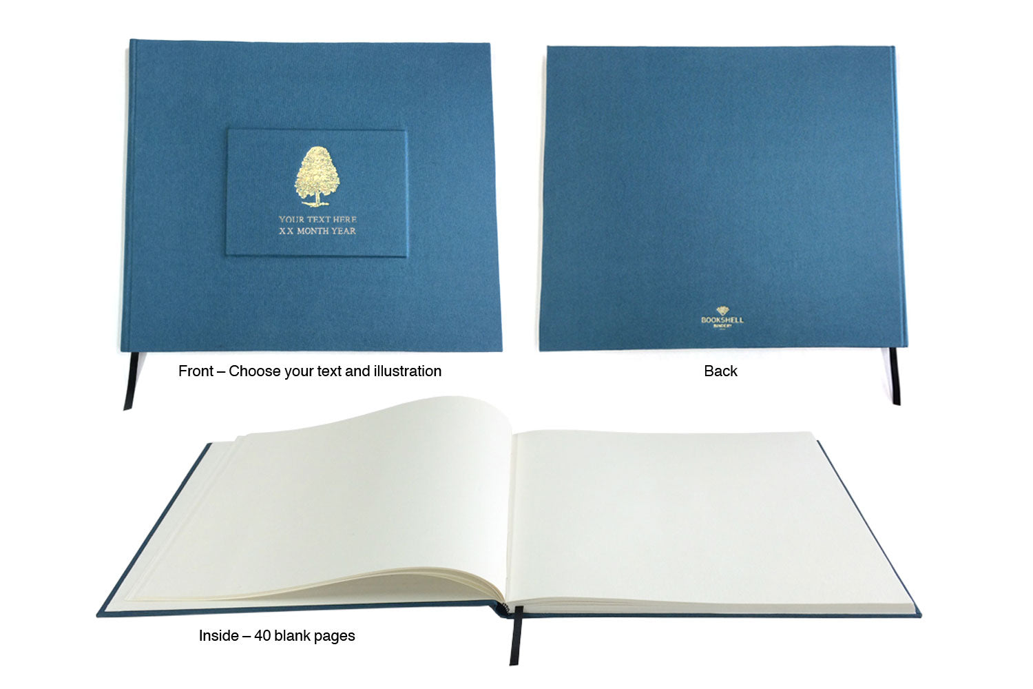 wedding guest book from Bookshell bindery, hand bound in blue book cloth with gold foil embossing, tree cover picture