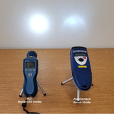 Light Output Comparison Image of Monarch PLS Pocket LED Stroboscope vs. Palm Strobe Xenon Stroboscope