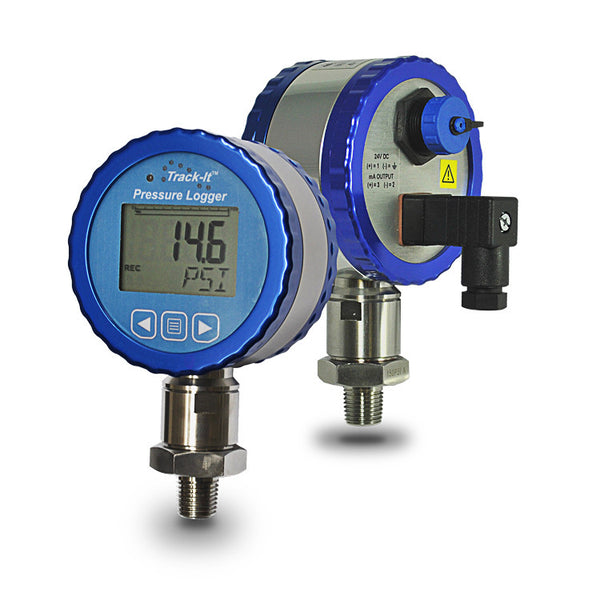 Track-It™  Pressure Transmitter/Data Logger With Display 24 Vdc Power Required Front and Back view - Monarch Instrument