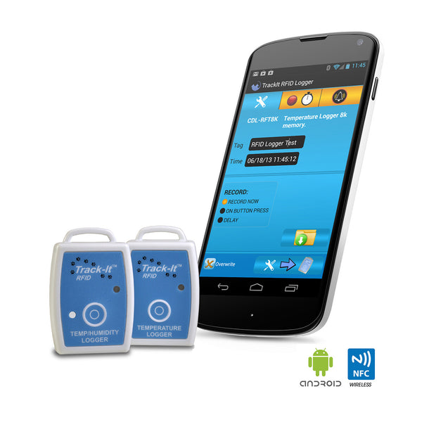 Track-It™  RFID Temp or Temp/Humidity Data Logger shown with Android Device running App- Monarch Instrument