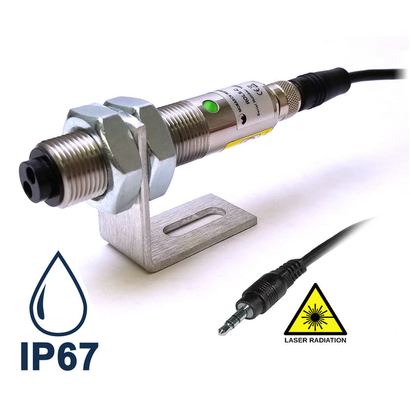 RLS-P - Rugged Laser Sensor with Phone plug connector IP67 and Laser warning images - Monarch Instrument