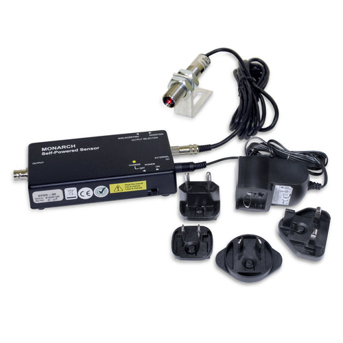 SPSR Self-Powered Sensors with Remote Optical Sensor, Power Supply/Recharger and interchangeable wall plugs- Monarch Instrument