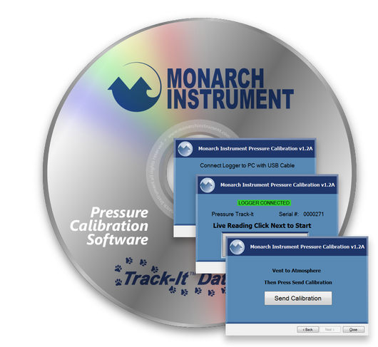 Track-It™ Pressure Calibration Software CD with Screen Shots image- Monarch Instrument