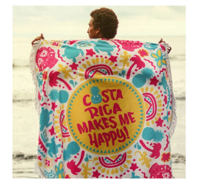 Costa Rica Makes me Happy Beach Towel
