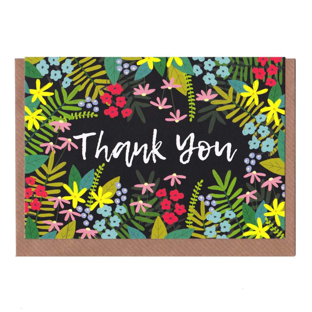 Thank You - Floral - Greetings Card
