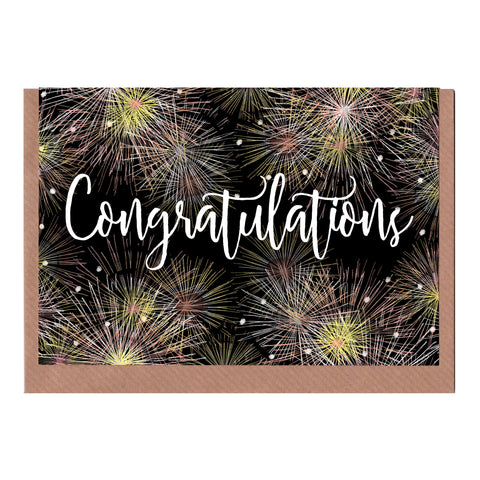 Congratulations (Fireworks) - Greetings Card
