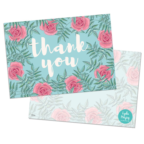 Blue Rose - 10 x Thank You Cards
