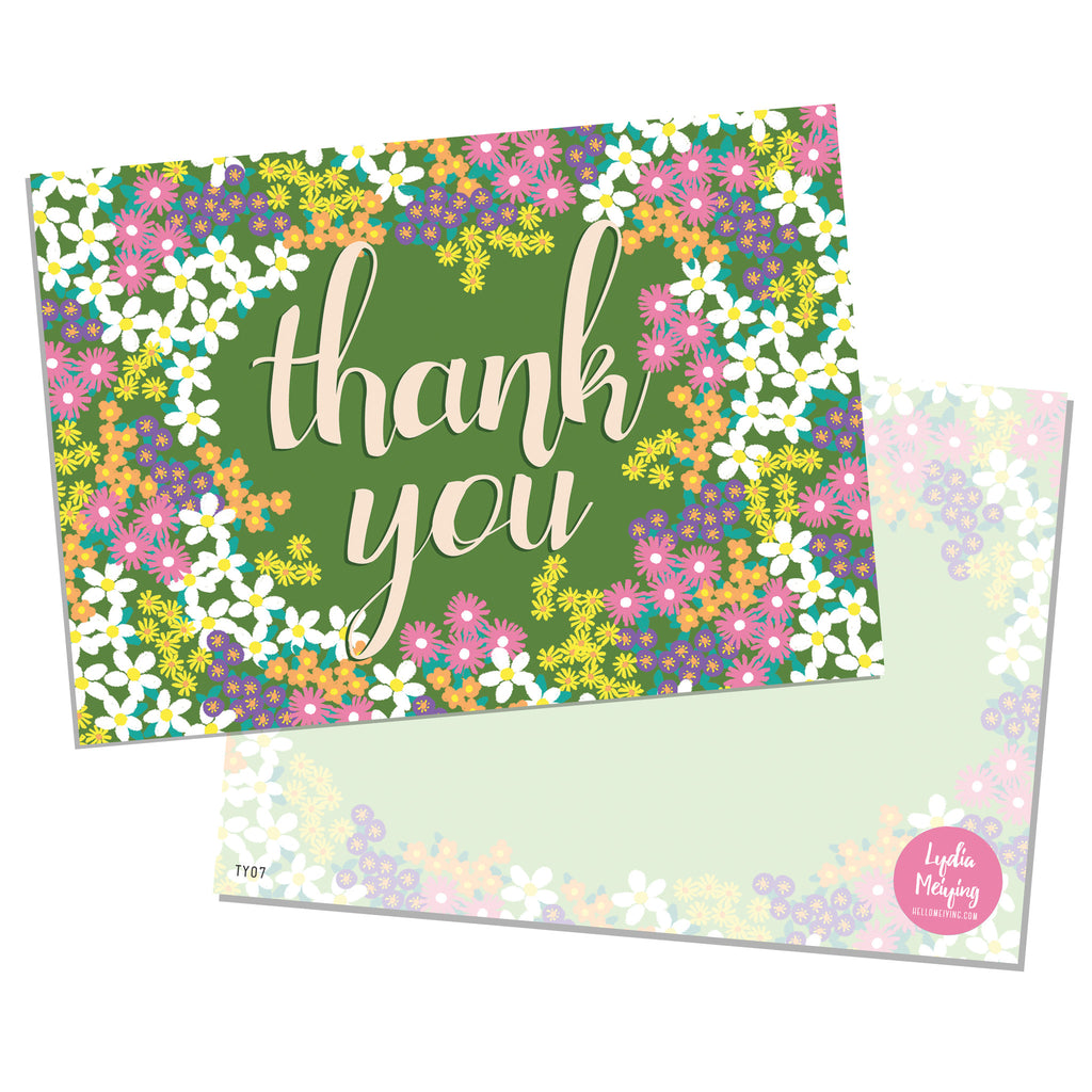 Spring Floral - 10 x Thank You Cards