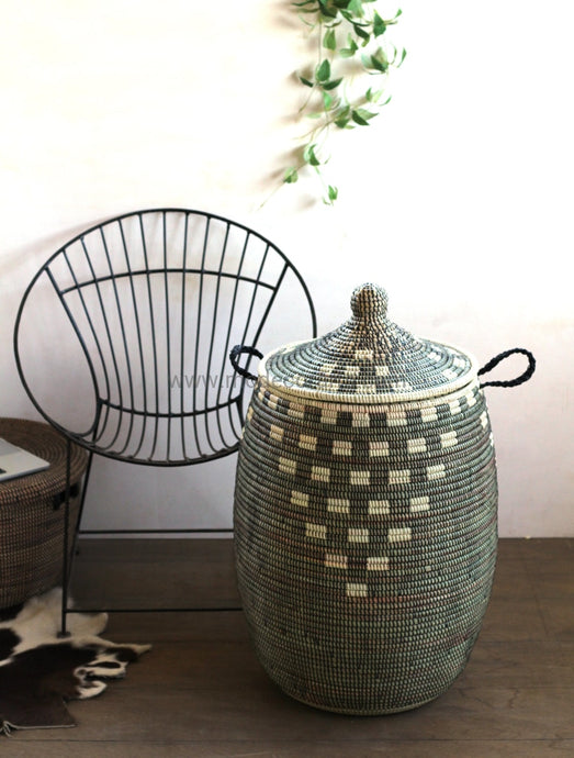 Black Pottery Design With Ivory Pattern Laundry Basket / African Baskets Tajine Lid