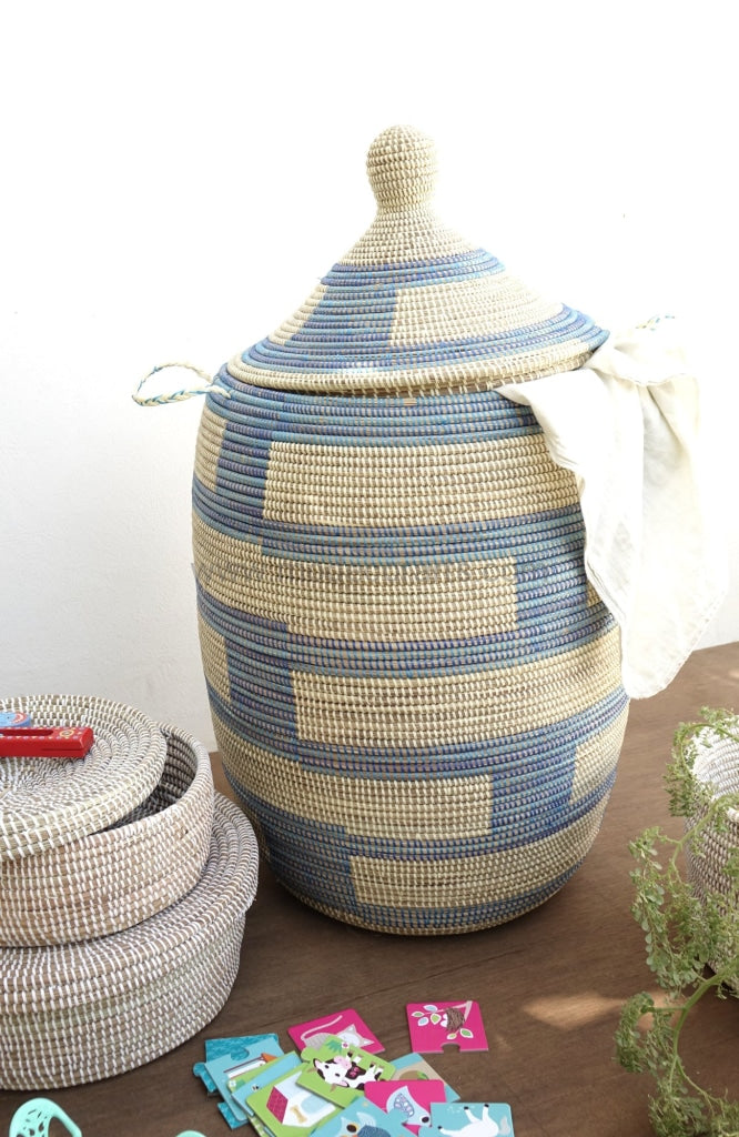 laundry basket, laundry hamper, design basket, african chic, homeware from africa, baskets from Senegal,