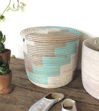 Gray & Turquoise Step Patterned | Toy Storage Basket Flat Lid Basket