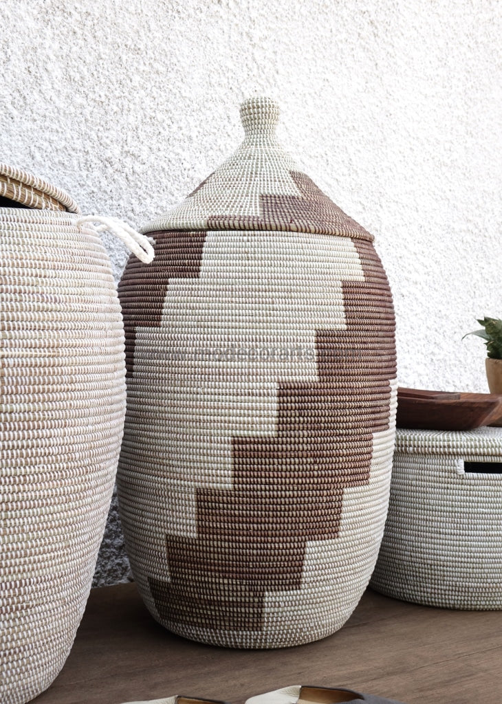 Handmade Laundry Basket (Xl) In Dark Brown & White / Hamper Tajine Lid