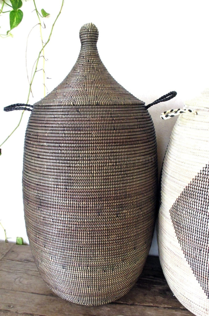 Woven African Laundry Clothes Hamper - Black - Large - Fair Trade
