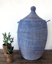 Woven African Laundry Clothes Hamper - Plain Blue - Extra Large - Fair Trade