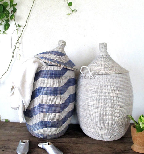 Woven African Laundry Clothes Hamper - Graphic- Blue - White - Extra Large - Fair Trade