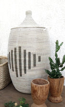 Handmade Laundry Basket (Xl) In White With Black Line Pattern / Hamper Tajine Lid