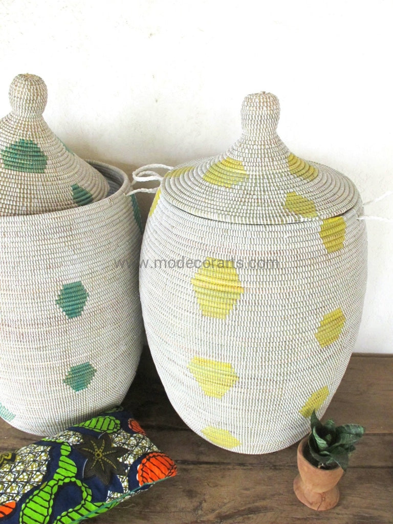 Handmade Laundry Basket (Xl) In White With Yellow Pattern / Hamper Tajine Lid