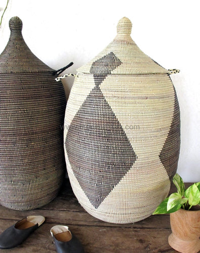 Woven African Laundry Clothes Hamper - Ivory Black - Extra Large - Fair Trade