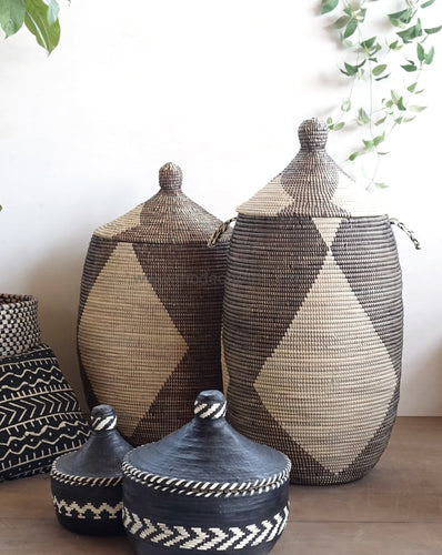 Woven African Laundry Clothes Hamper - Graphic Pattern - Ivory - Large - Fair Trade