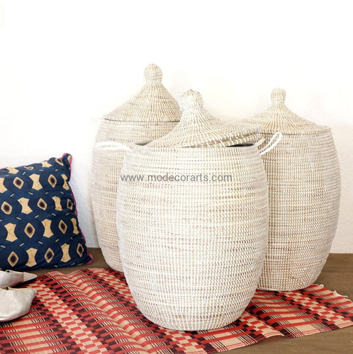 Laundry Basket (L) In Plain Color / African Hamper Tajine Lid