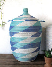 Laundry Basket (Xl) In Blue & Turquoise / Hamper Tajine Lid